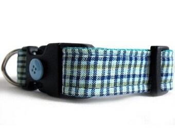Eco Dog Collar - Renewable Aqua Blue Plaid Cotton