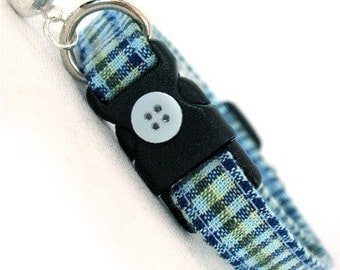 Eco Cat Collar - Renewable Aqua Blue Plaid Cotton