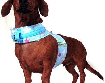 Eco Dog Harness - Renewable Blue Stars Cotton - Large