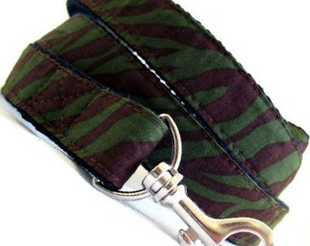 Eco Dog Leash - Renewable Green Leopard Cotton