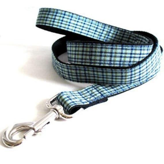 Eco Dog Leash - Renewable Aqua Blue Plaid Cotton