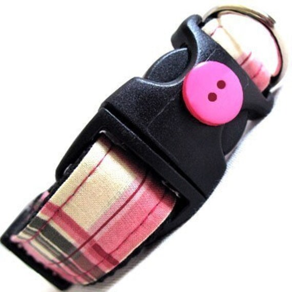 Dog Collar - Eco Friendly - Pink Plaid - Recycle and Save