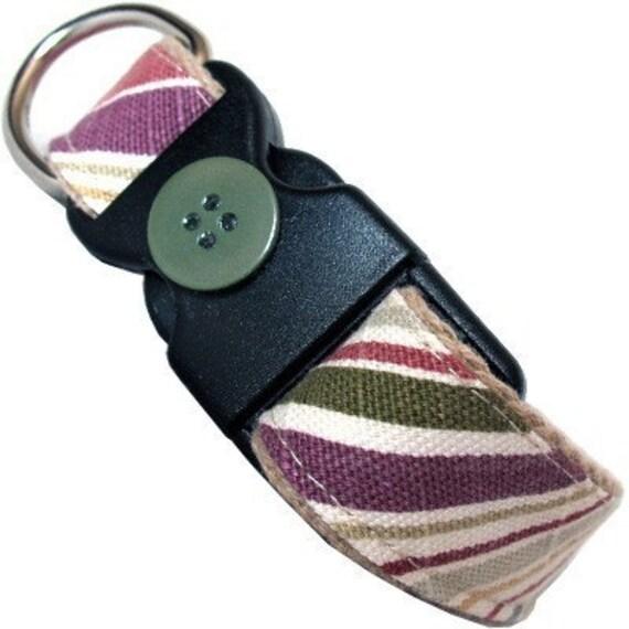 Eco Dog Collar - Recycled Khaki Stripe Cotton
