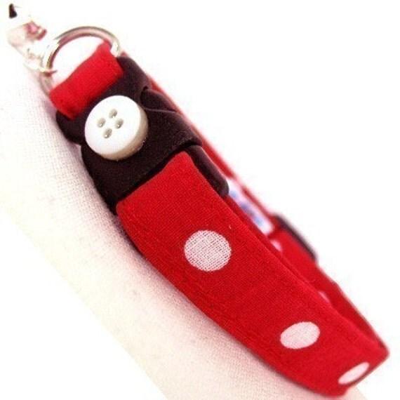 Eco Cat Collar - Renewable Red Dot Cotton