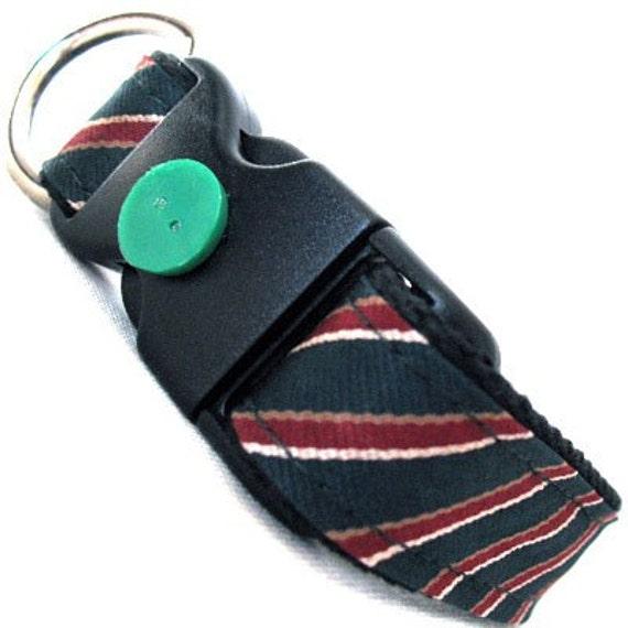 Eco Pet Collar - Recycled Green Maroon Stripe Necktie