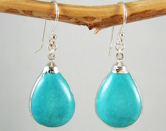 Baby Blue Turquoise Earrings Holiday Gift for Her Teardrop Gemstone Earrings for Women