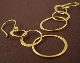 Gold 3 Ring Earrings Geometric Jewelry Valentine Birthday Gift Modern Simplicity Everyday Jewelry