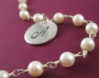 Silver Initial Bracelet Wedding Gift for Bride Mothers Day Gift Personalized Charm with White Pearl