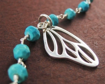 Stelring Silver Butterfly Wing Bracelet Wing Charm Blue Turquoise Gemstone Jewelry Gift for Women Graduation SALE