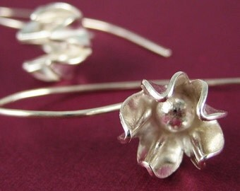 Silver Flower Earrings Bridal Jewelry Sale Holiday Gift Nature Jewelry Modern Jewelry