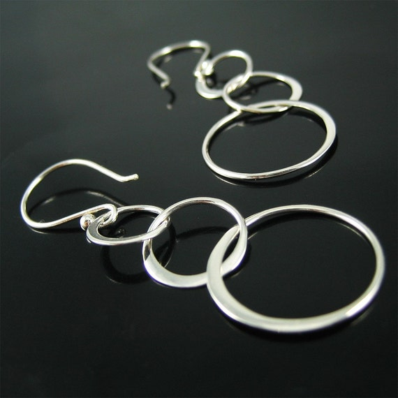 HOLIDAY SALE --- Silver Ring-Ring-Ring Earrings