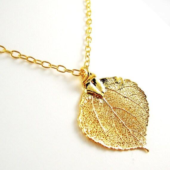 SALE --- Gold Aspen Leaf Necklace - Small