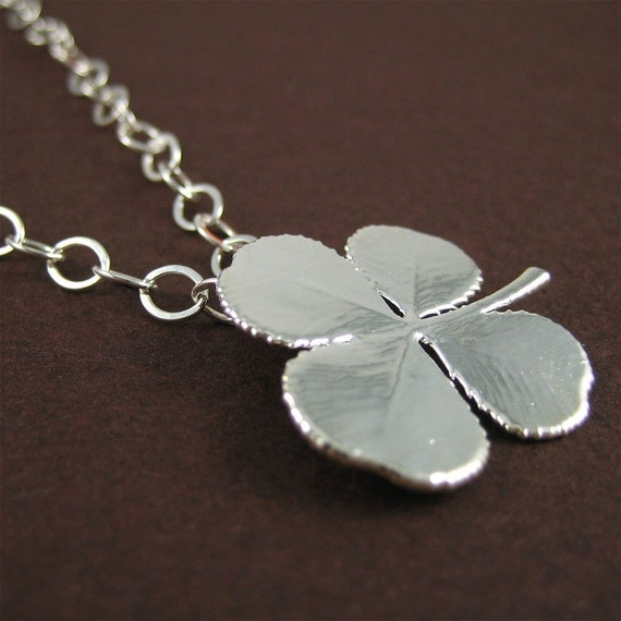 SALE Silver 4 Leaf Clover Necklace Lucky Charm Leaf Jewelry Best Gift for Women
