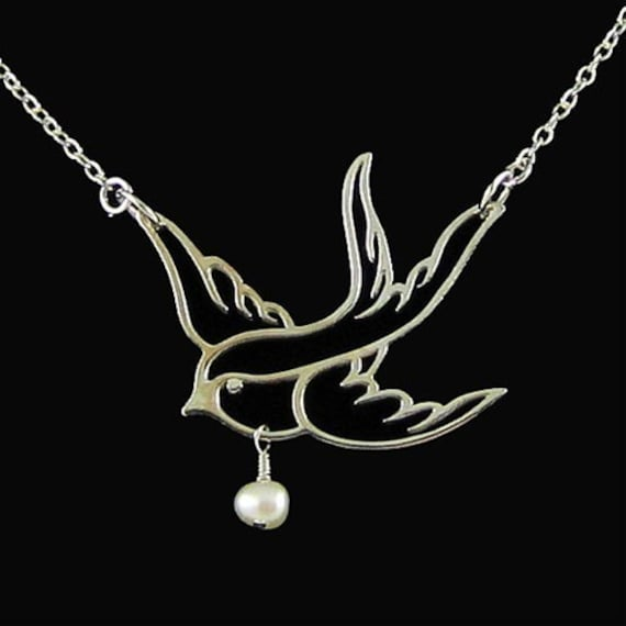 Sterling Silver Swallow Bird Necklace Graduation Gift for Her Nature Jewelry Holiday Sale