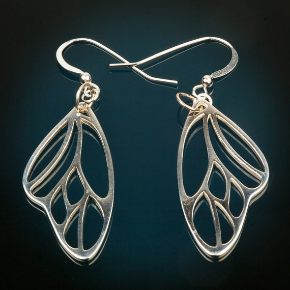 FREE US SHIPPING - Silver Butterfly Wing Earrings - Dangle Holiday Sale Christmas Birthday Gift for Her Modern Simplicity Spring Nature