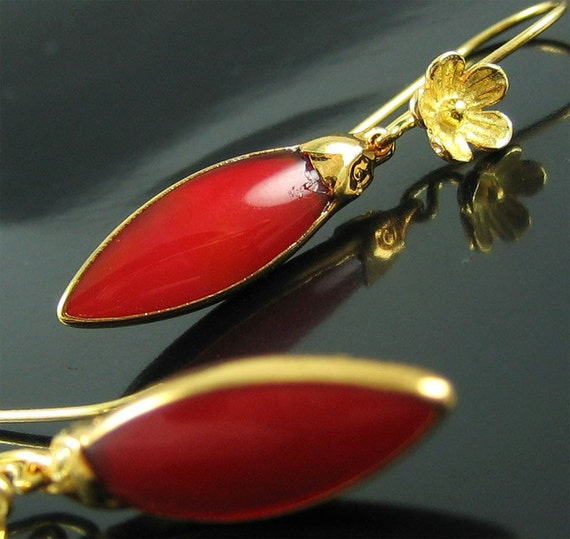 Electra Earrings Hot Red Jade Gemstone Gold Earrings Holiday Sale Gift for Her Ready to Ship