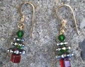 Christmas Tree Earrings(AB Finish,Gold Fill Ear wires)