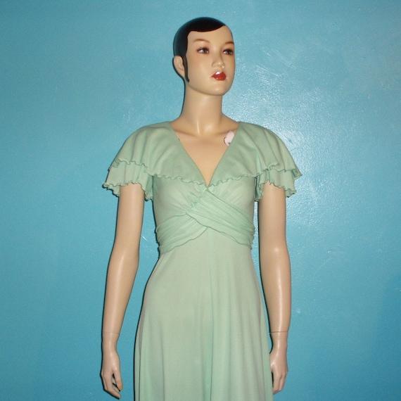 MINT MAXI 70s Green Flutter Shawl Dress S M