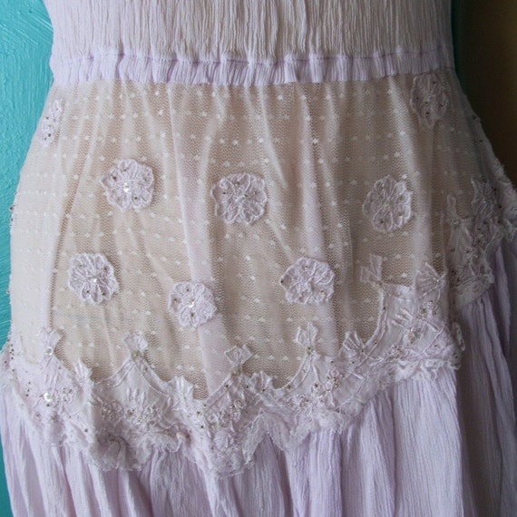 70s 80s Lilac Crinkle Dress S M L One Size