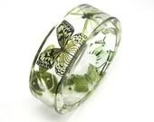 Green Bracelet, Forest Green Butterflies in a Resin Bangle, Botanical Jewelry