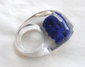 Clear resin ring with azurite