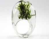 Clear resin ring with green moss