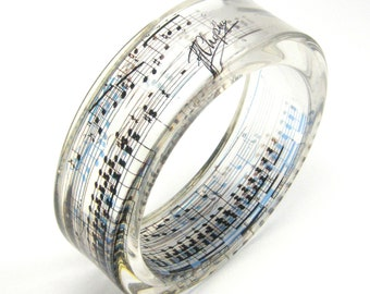 Tribute to Frederic Chopin, Resin Bangle, Resin Jewelry, Music Jewelry