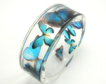 Blue Bracelet, Blue Butterflies in Clear Resin Bangle, Animal Bracelet, Botanical Jewelry