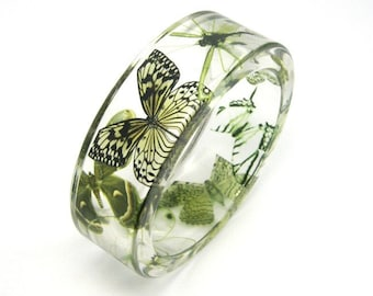 Green Bracelet, Forest Green Butterflies in a Resin Bangle, Botanical Jewelry