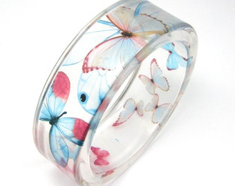 Light blue and pink  Butterflies Bracelet -  Resin Bangle