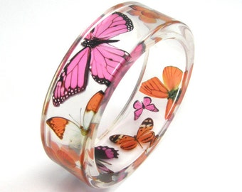 Orange and Pink Butterflies  Bracelet - size m, resin Bangle