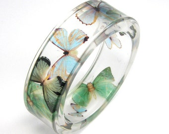 Mint Bracelet, Blue and Green Butterflies in Clear Resin Bangle, Animal Bracelet, Botanical Jewelry