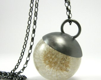 Resin Necklace - Dandelion Pendant. Silver. Large 3,4 cm
