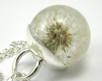 Dandelion Resin and Silver Necklace
