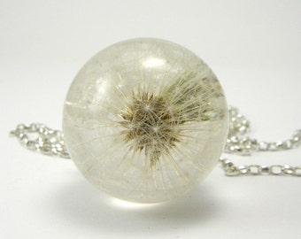 Dandelion Necklace, Dandelion Pendant, Sterling Silver Pendant, Dandelion Jewelry, Resin Dandelion, Dandelion Ball, Dandelion Sphere