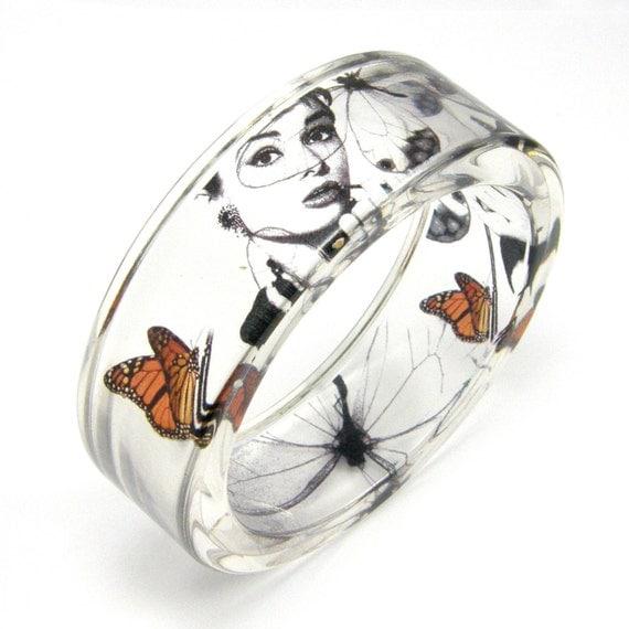 Audrey Hepburn and Butterflies Bracelet/ reserved for troyjperdue