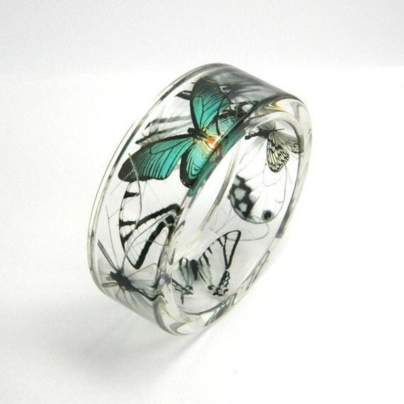 Emerald and black  Butterflies Resin Bracelet, Resin Bangle
