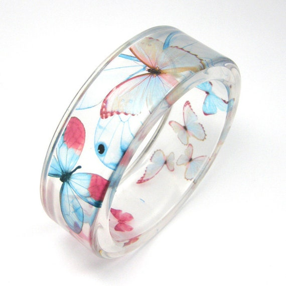 Light blue and pink  Butterflies Bracelet - size s/ SALE