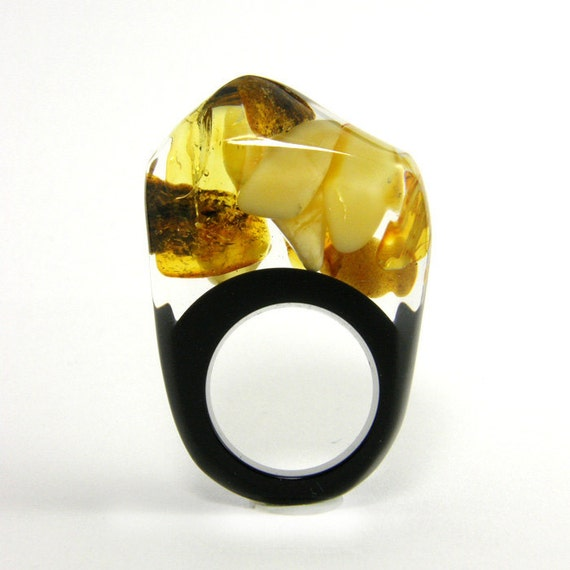Amber and Black Resin Ring modelW3 / reserved