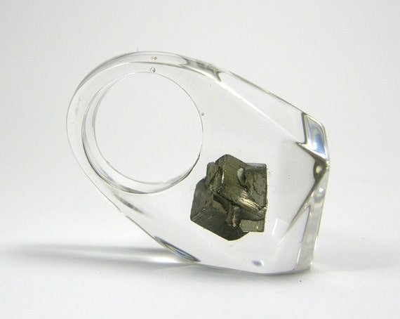 Clear resin ring with pyrite