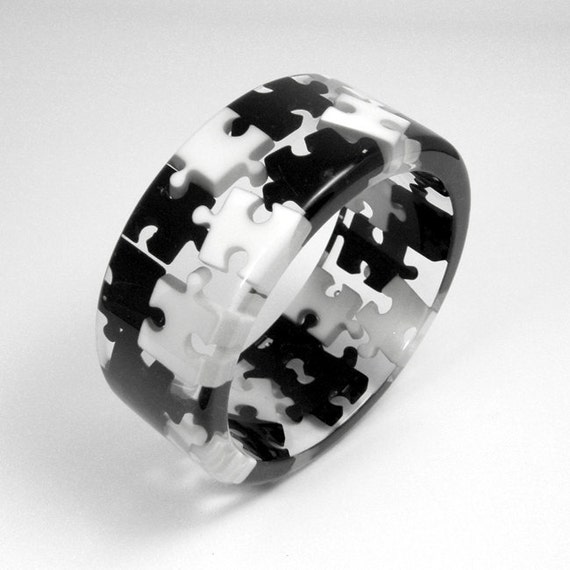 Resin Black and White Puzzles Bangle