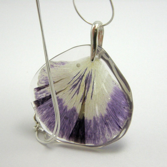 Summer Resin Necklace with Flower. Pansy Petal Pendant
