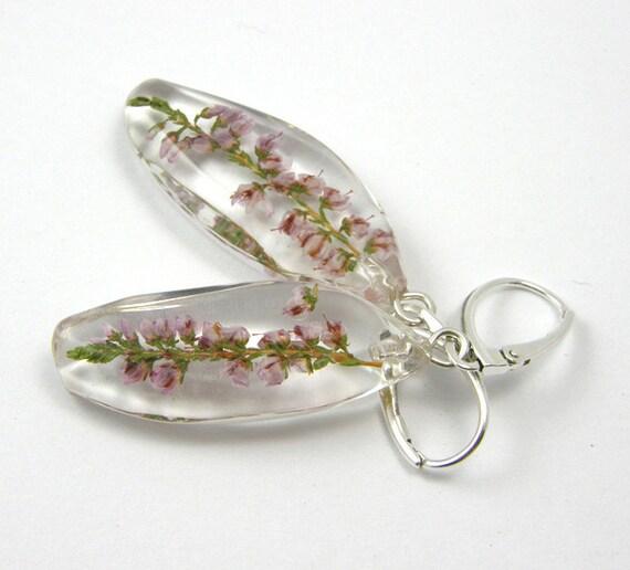 Heather Resin Earrings, floral earrings, Earrings with flowers