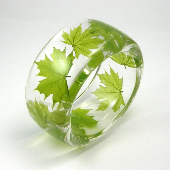 Resin Bangle - Green ECO Bracelet. Maple Leaf. size S/ made to order