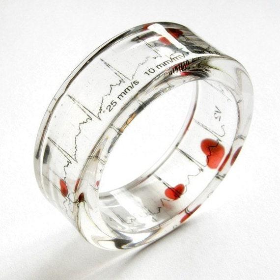 Resin Bangle - EKG Love bracelet