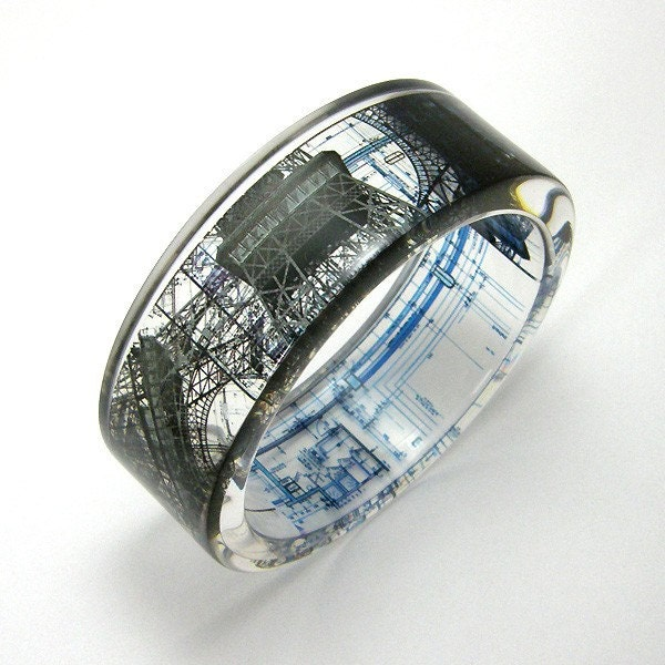 eiffel tower bracelet bracelet resin bangle black and