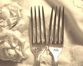 Mr. and Mrs. Wedding Cake Forks Silver Plate Roses by Vintage Garden on etsy