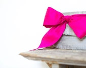 fuchsia silk bow bridesmaids gifts, personalize for your wedding