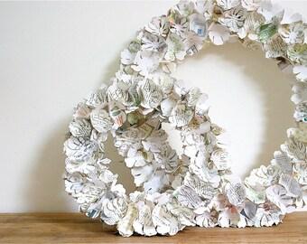 Wreath, paper flowers, home decor, wedding decoration