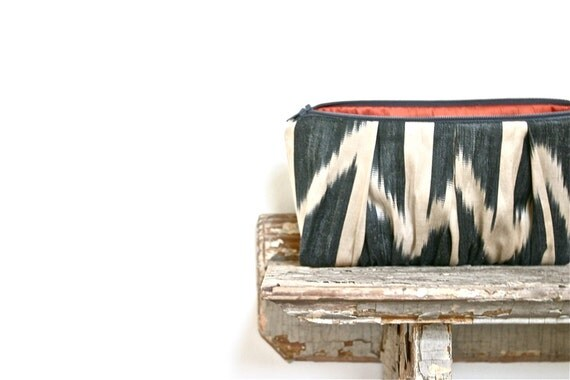 navy silk ikat clutch bag, chevron print, tribal